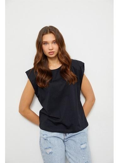 Setre Siyah Vatkalı Pamuk T-Shirt Siyah